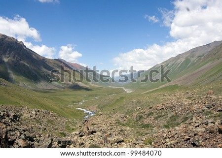 mountains near to lake/view from the lake/ - stock photo