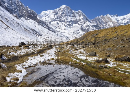 Mountains of Annapurna Region Nepal Himalayas - stock photo