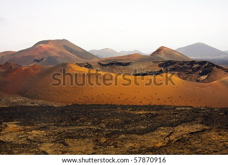 Mountains of fire,Timanfaya National Park in Lanzarote Island - stock photo