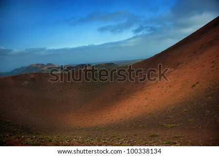 Mountains of fire,Timanfaya Park, Lanzarote, Canary islands.