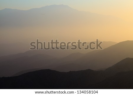 Mountains of Mojave desert at sunset. USA. California.