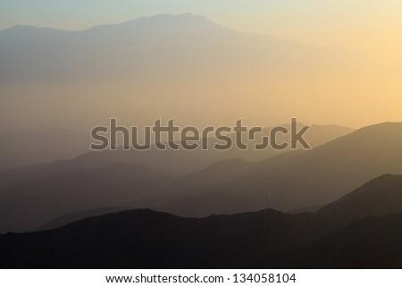 Mountains of Mojave desert at sunset. USA. California. - stock photo