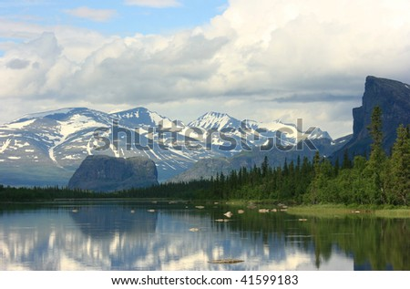 Mountains of Sarek National Park in Lapland, Sweden - stock photo