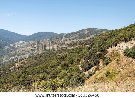 Mountains of Sort situated in the spainish province of Lleida in pyrenees mountain. It�´s picture taken in a sunny day. - stock photo