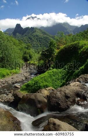 Mountains of Tahiti, French Polynesia - stock photo