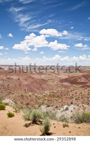 Mountains of the painted desert of Arizona, part of the petrified national forest located off historic US Route 66. - stock photo