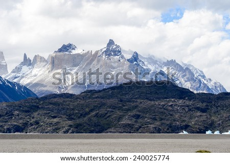 Mountains of the Torres del Paine National Park, Patagonia, Chile - stock photo