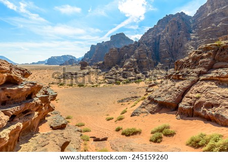 Mountains of Wadi Rum desert, Jordan - stock photo