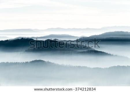 Mountains on the horizon  - stock photo