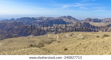 Mountains panorama near Petra in Jordan in a sunny day.