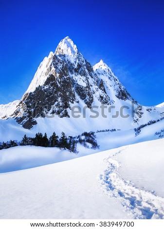 Mountains peak - stock photo