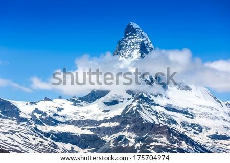 Mountains peak. Matterhorn. Swiss Alps  - stock photo