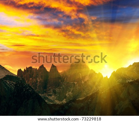 Mountains peak Whitney in USA - stock photo