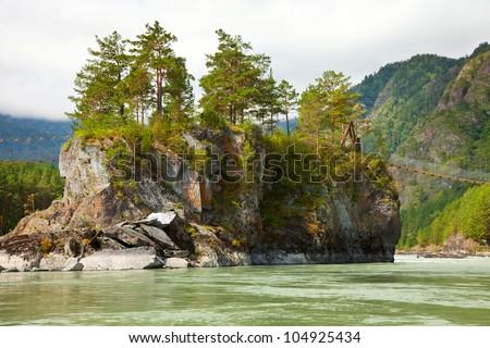 Mountains river with rocky riverside.  Katun, Altai, Siberia - stock photo
