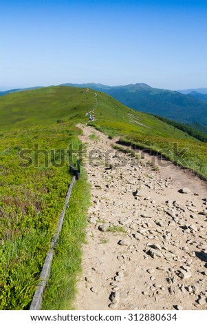 Mountains scenery. Panorama of grassland and forest in Bieszczady National Park. Carpathian mountains landscape, Poland. Bieszczady are part of Beskid mountains which a part of Catpathian mountains. - stock photo