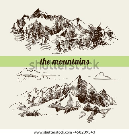 Mountains sketch, contours of the mountains engraving style, hand drawn  illustration. Raster copy
