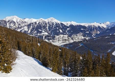 Mountains ski resort Bad Gastein Austria - nature and sport background - stock photo