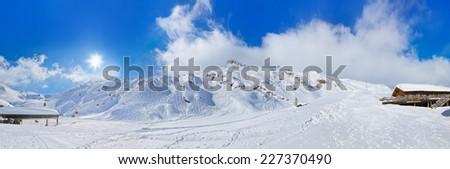 Mountains ski resort Kaprun Austria - nature and sport background - stock photo