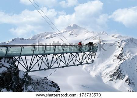 Mountains ski resort Solden Austria - view - stock photo