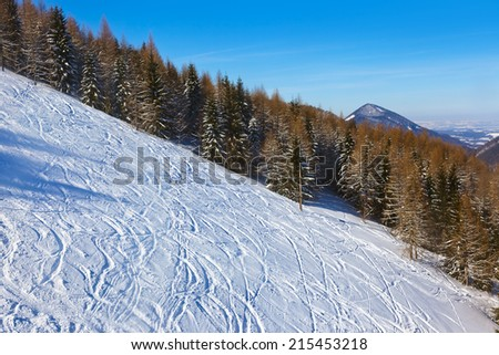 Mountains skis track - St. Gilgen Austria - nature and sport background - stock photo
