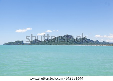 mountains, sky and sea. The nature of the Gulf of Thailand and beautiful tourist destinations in Thailand. - stock photo
