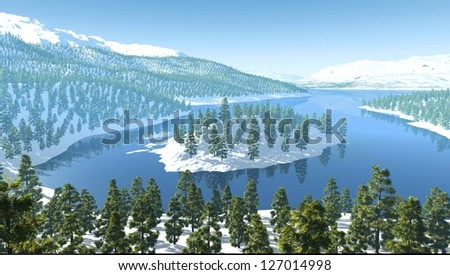 mountains snow forest lake river - stock photo