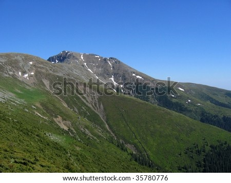 mountains summit landscape forests peak blue  clear