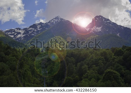 Mountains surrounded by forests. Background. Spaces.