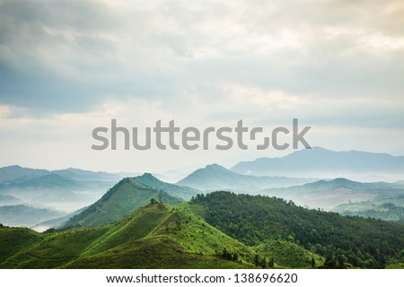 mountains under mist in the morning in Zixi county, Fuzhou city,Jiangxi Province,China - stock photo