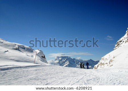Mountains under the snow in the winter