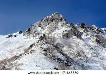 mountains under the snow in winter