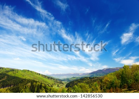 Mountains with green forest landscape  in Carpathians - stock photo