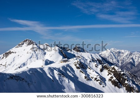 Mountains with snow in winter.