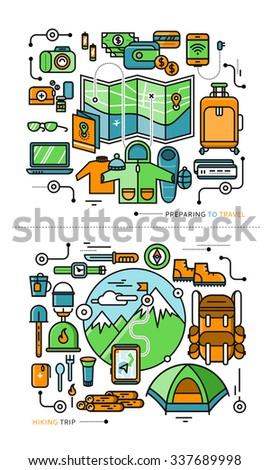 Mountains with snow peaks and tourist equipment. Hiking trip. Mountaineering. Travel. Stroke icons in flat design. Preparing to travel. Necessary items for journey. What to pack. Raster version - stock photo