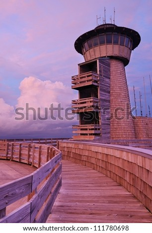Mountaintop observatory at night on Brasstown Bald in Georgia, USA. - stock photo