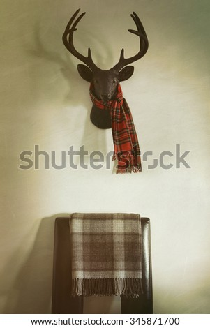 Mounted deer head with red plaid scarf and chair below - stock photo