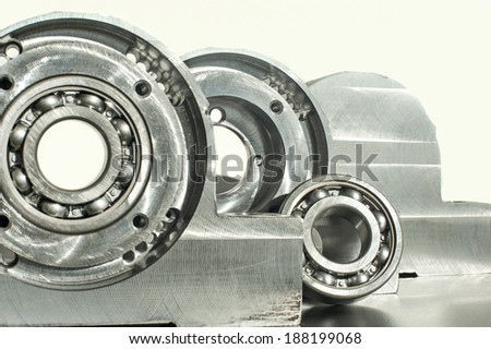 Mounted roller bearing unit CNC technology. Milling lathe and drilling industry. Metalworking. Mechanical engineering. Indoors closeup. - stock photo