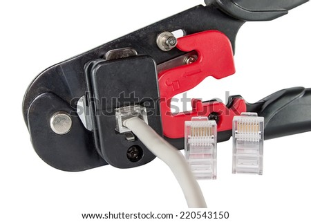 Mounting clamps, connectors and cable isolated on white background - stock photo