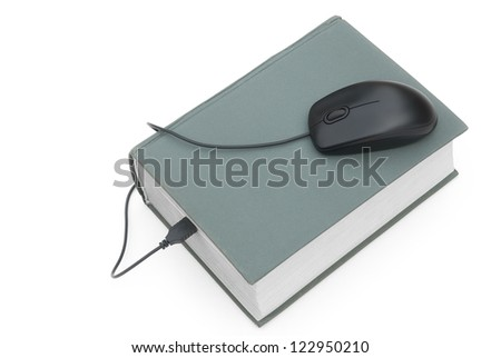 mouse and book,e-learning concept - stock photo