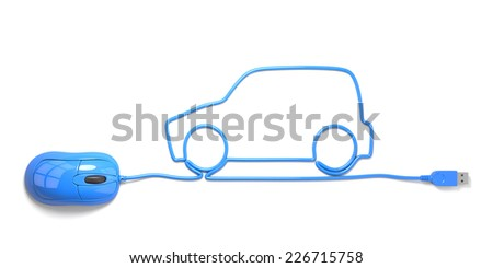 mouse and cables in form of car on a white background - stock photo