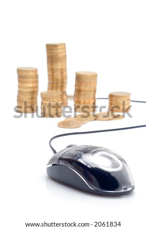Mouse and coins against white background - stock photo