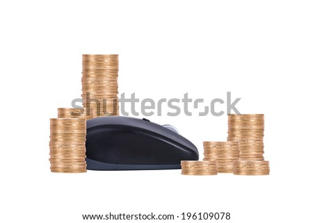 Mouse and coins, isolated on white background. - stock photo