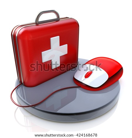 Mouse and First Aid in the design of the information related to the computer and the Internet. 3d illustration - stock photo