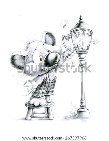 Mouse and lantern - stock photo