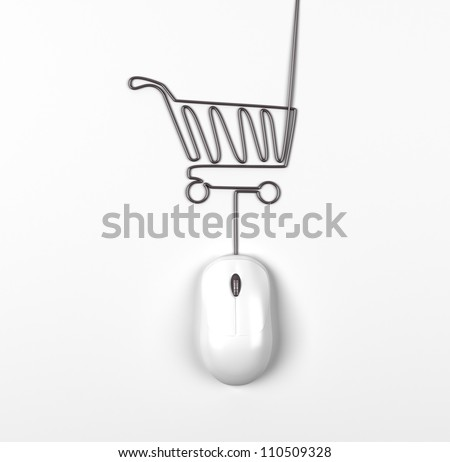 mouse and trolley in form of lamp on a white background - stock photo