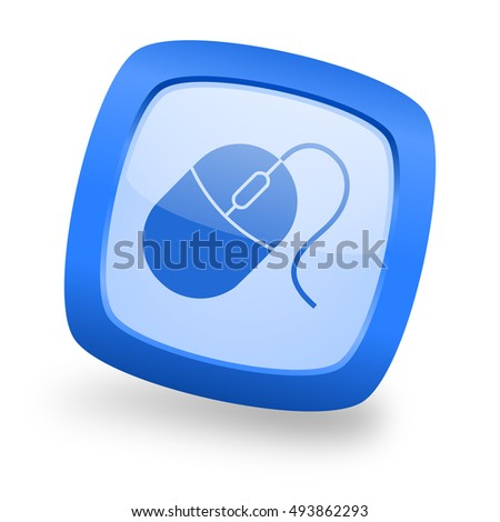 mouse blue glossy web design icon