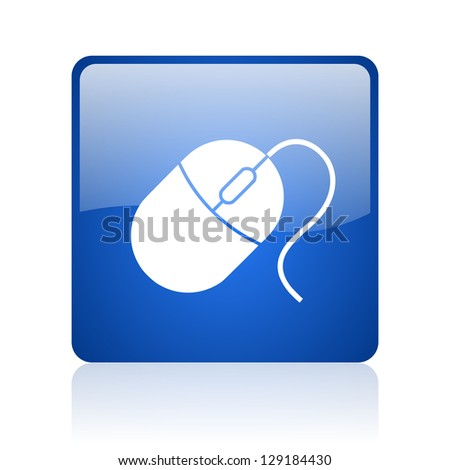mouse blue square glossy web icon on white background - stock photo