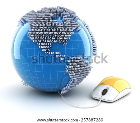 Mouse connected to globe with binary code, 3d render - stock photo