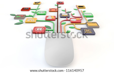 mouse connected with media and web icons isolated on white background