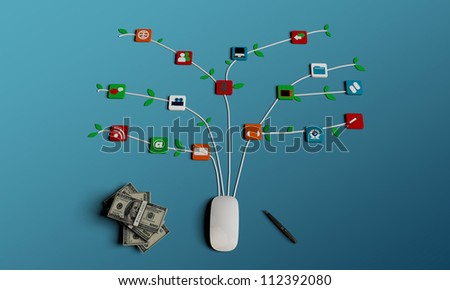 mouse connections isolated on blue background